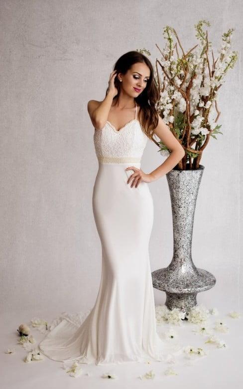 Lange witte gala jurk
